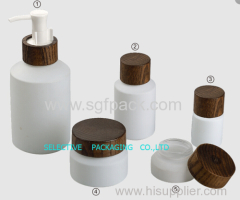 ASH WOODEN CAP INCLINED SHOULDER WHITE GLASS BOTTLE