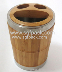 eco-friendly wooden bamboo cosmetic packaging BAMBOO STEEL BATHROOM TEETH BRUSH CUP SMILE FACE SOAP CASE