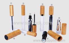 wood Bamboo MAKE-UP SERIES lip gloss tube & mascara& eyeliner bottle