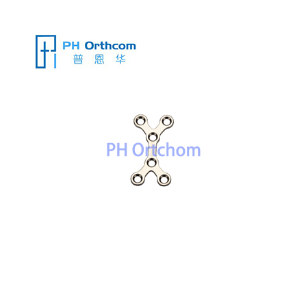 Titanium Mini X-shaped Plate for Maxillofacial Surgery thickness 1.0mm 6 holes without bridge