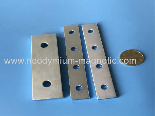 Neodymium magnet block with countersink holes