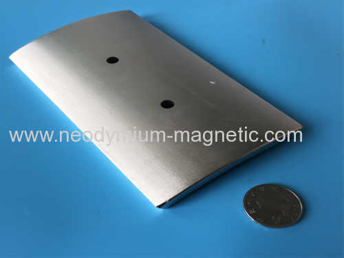 large arc neodymium magnet with counterbored hole