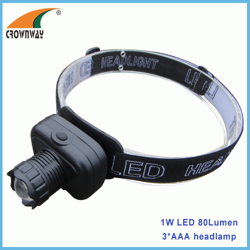1W LED headlamp 80Lumen high power head light 3*AAA camping lantern fishing lamps hunting light