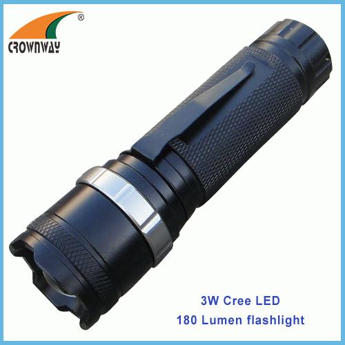 3W Cree Led flashlight Led 180Lumen high power clip torch portable lantern camping light 3*AAA battery lamp