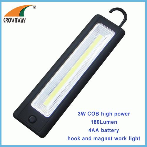 3W COB 250Lumen magnet and hook working light 4*AA repairing lamp outdoor camping light car repairing lamp
