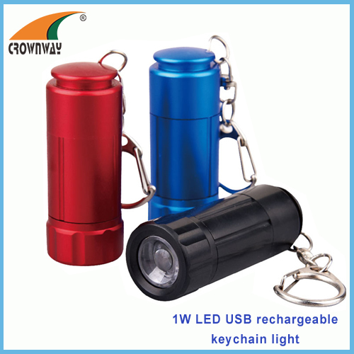 0.5W LED mini keychain light USB recharging mini pocket lamp hand torch promotional gifts Ni-Mh rechargeable battery
