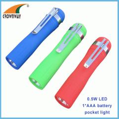 0.5W 20Lumen pocket torch 1*AAA clip light mini flashlight LED hand torch