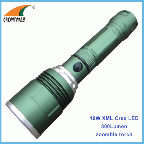 10W XML Cree powerful zoomble portable lantern anodized aluminum hand torch 800Lumen 18650 rechargeable light