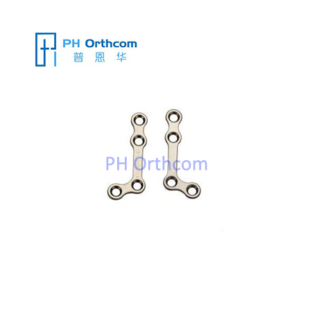 Titanium Mini L-shaped Plate 110° for Maxillofacial Surgery thickness 1.0mm 4 holes with bridge