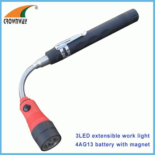3LED flexible magnet working light extensible gooseneck magnet torch clip light