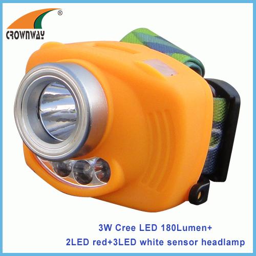 3W Cree LED sensor headlamp 180Lumen high power 3*AAA battery camping light