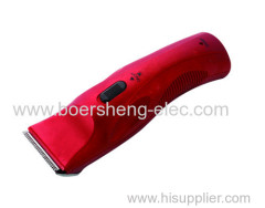 Rechargeable DC Motor Hair Clipper in Matte Red Color with Low Noise Design