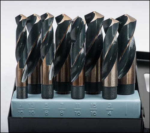 """8pcs 1/2"""" shank drill bits sizes 9/16"""" 13/16"""" 5/8"""" 7/8"""" 11/16"""" 15/16"""" 3/4"""" 1"""" in metal box"""