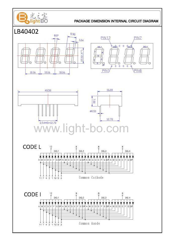 four digit 7 segment led display package dimensions and