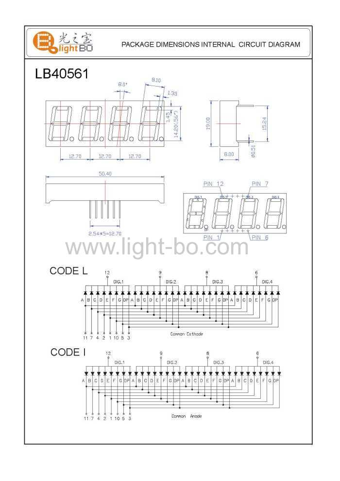 four digit 7 segment led display package dimensions and internal circuit diagram