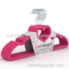 "16.5"" ABS pink velvet love hanger non-slip for skirt/sun-top"