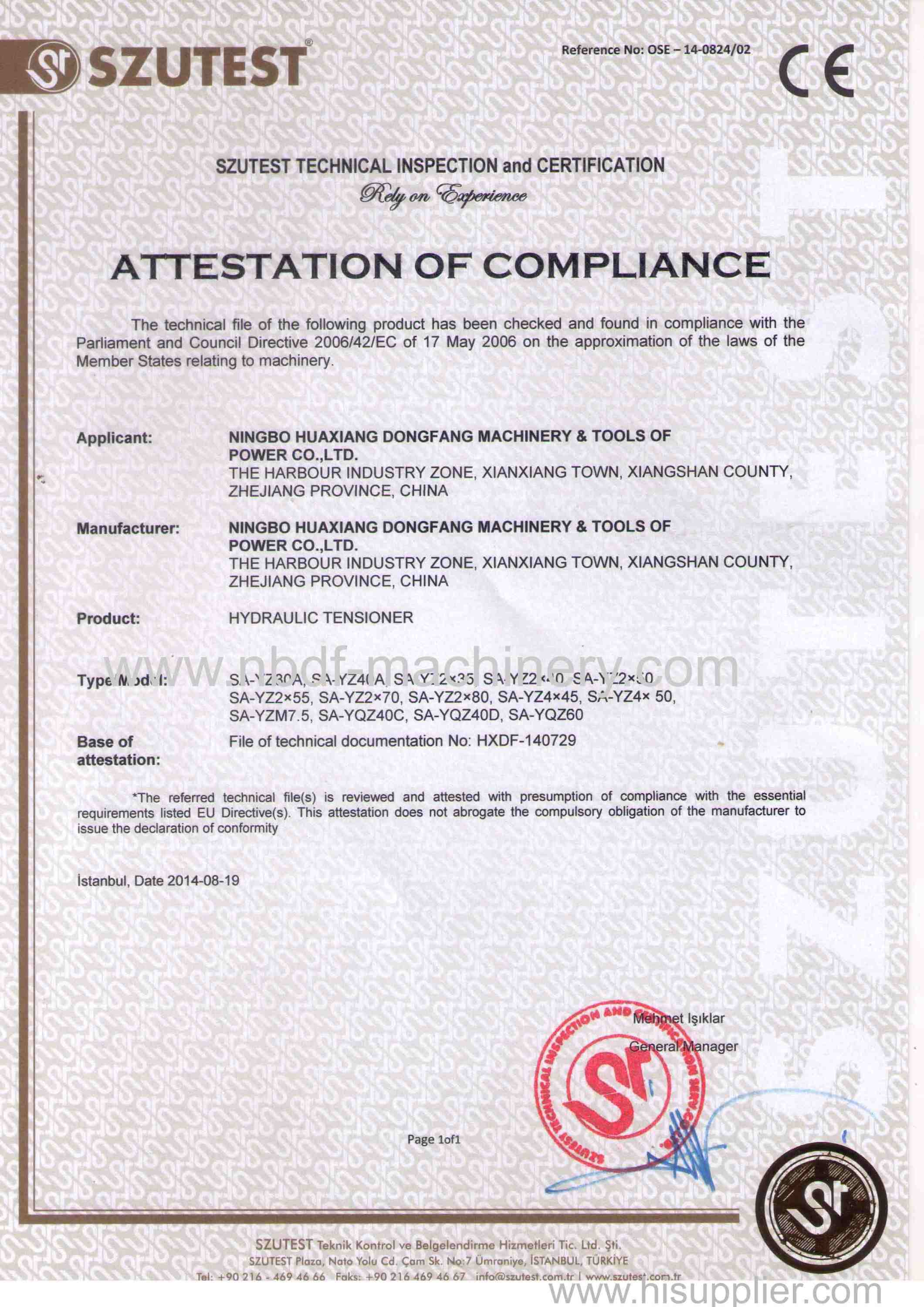 CE CERTIFICATE OF TENSIONER