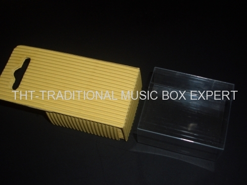 PVC COVER RIBBED KRAFT PAPER HAND CRANK MUSIC BOX SILVERY MECHANISM