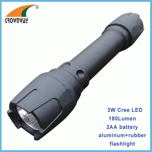 3W Cree Led flashlight Led 180Lumen high power torch portable lantern camping light 2*AA battery lamp