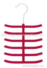 6 layer ABS plastic red velvet tie organizer non-slip space saver