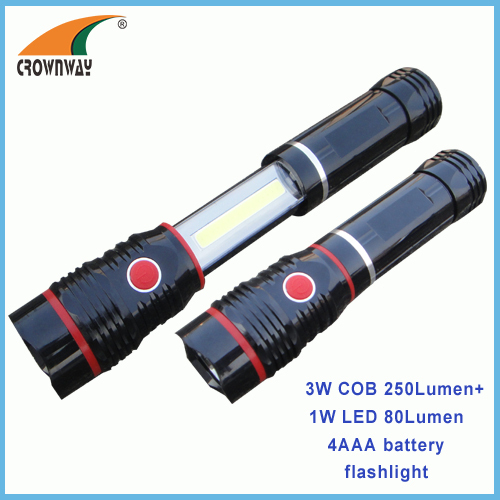 3W COB magnet work light 250Lumen high power lamp 4*AAA outdoor camping and repairing lamp stretched & closed flashlight