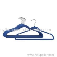45CM plastic blue velvet suit hanger with ident design non-slip