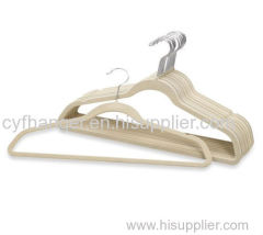 45CM Plastic Ivory flocked with ident suit hanger non-slip space saver