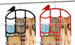 Fashion birdcage design plastic flocked scarf hanger space saver