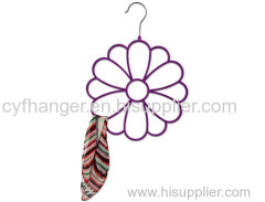 Fashion flower design Red flocked scarf hanger Made by ABS plastic