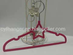 Plastic red velvet 33cm star shape children hanger for sale