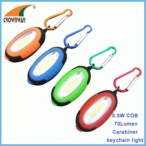 0.5W COB high power keychain lights 70Lumen keychain lamps with carabiner mini pocket light outdoor emgergency light