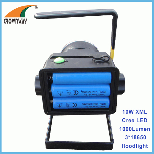 10W XML T6 Cree Led floodlight 3*18650 Lithium rechargeable Led working lamp 1000Lumen high power spot lamp