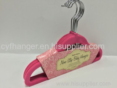 33.5CM red velvet non-slip kids hanger made by ABS plastic