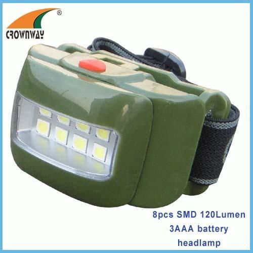 8pcs SMD headlamp High power 120Lumen headlight 3*AAA outdoor camping light fishing lamp