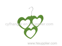 ABS plastic green flocked scarf hanger 3 heart design