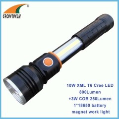 COB high power magnet working light 18650 Lithium rechargeable flashlight stretched COB and 10W Cree LED torch
