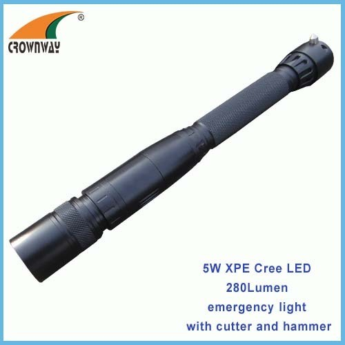 5W XPG Cree Led flashlight Led emergency flashlight with cutter and hammer heavy duty outdoor working light