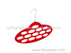 Oval shape with 14 holes ABS plastic red flocked scarf hanger space saver