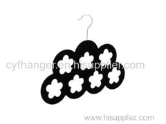 Double layer 7 flower design Black velvet scarf hanger Made by ABS plastic