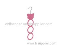 Cute pig head with 3 rings design pink velvet scarf hanger non-slip space saver