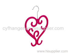 Stylish heart design red flocked scarf hanger made by ABS plastic