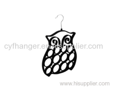 Stylish owl design black velvet scarf hanger space saver non-slip