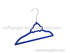 2016 newest car shape design ABS plastic dark blue flocked kids hanger