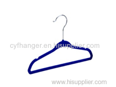 ABS plastic blue flocked with ident deisgn non-slip baby hanger
