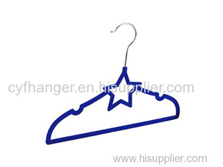 Dark blue flocked kids hanger non-slip star design
