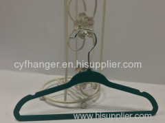 Dark green flocked with ident design non-slip children hanger 33.5cm