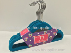Set of 10 green flocked with ident design non-slip children hanger length of 33.5cm