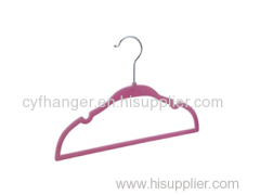 Hot pink flocked with u notched design non-slip space saver hanger for kids/baby/children