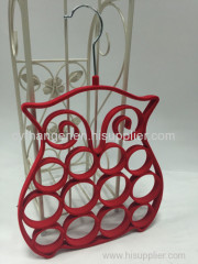 Stylish owl shape red flocked scarf hanger non-slip space saver