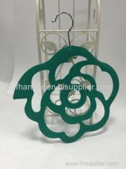 Turquoise velvet flower design non-slip scarf hanger made by ABS plastic
